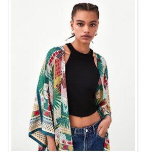 Zara Multicolored Jungle Print Kimono Size Medium